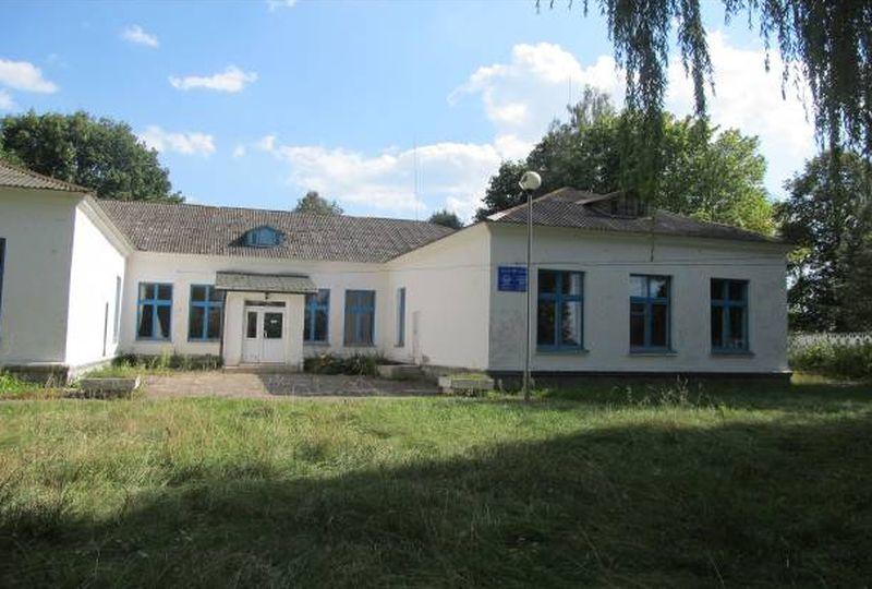 Комплекс строений в деревне Большая Колпеница: школа, спортивный зал и библиотека