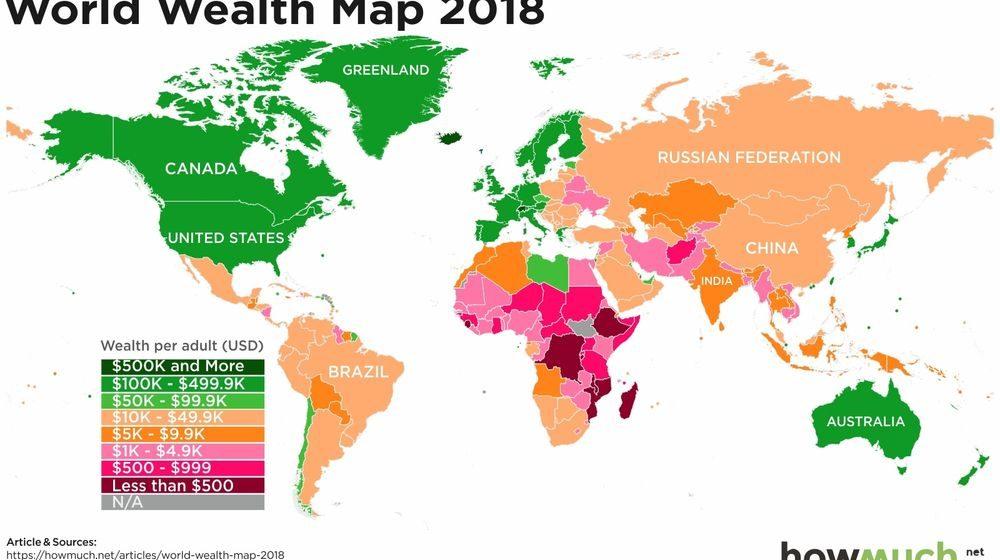 В Беларуси зарплаты как в Африке. Опубликована карта среднегодовых доходов в мире (фото)