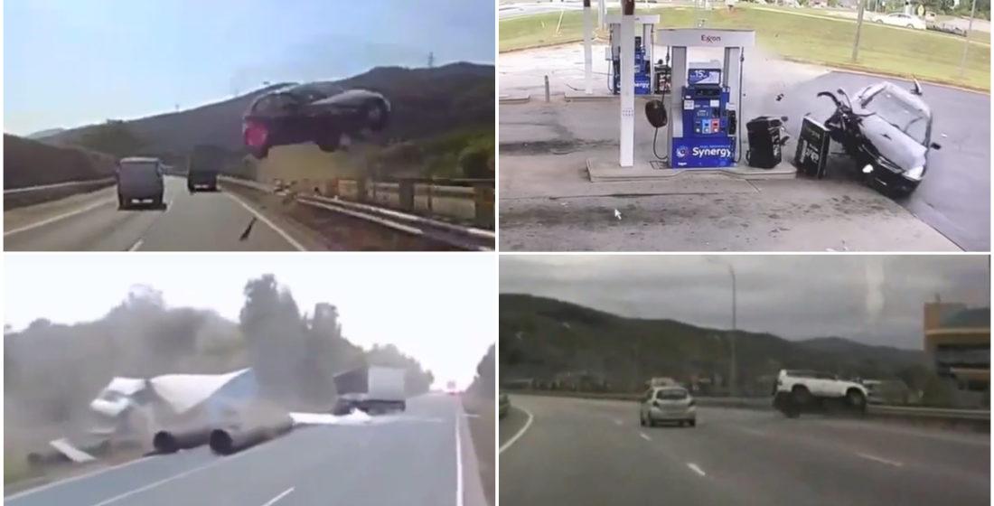 ТОП-5 ужасных аварий за неделю: автомобиль влетел в АЗС, две фуры и легковушка, неудачный обгон (видео 18+)
