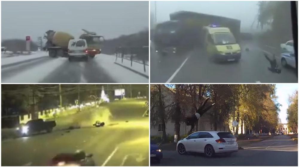 ТОП-5 ужасных аварий за неделю: бетономешалка и гололед, фура в тумане, быстрый, но легкий байкер (видео 18+)