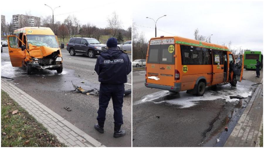 В Минске столкнулись автобус и маршрутка, семь человек отвезли в больницу