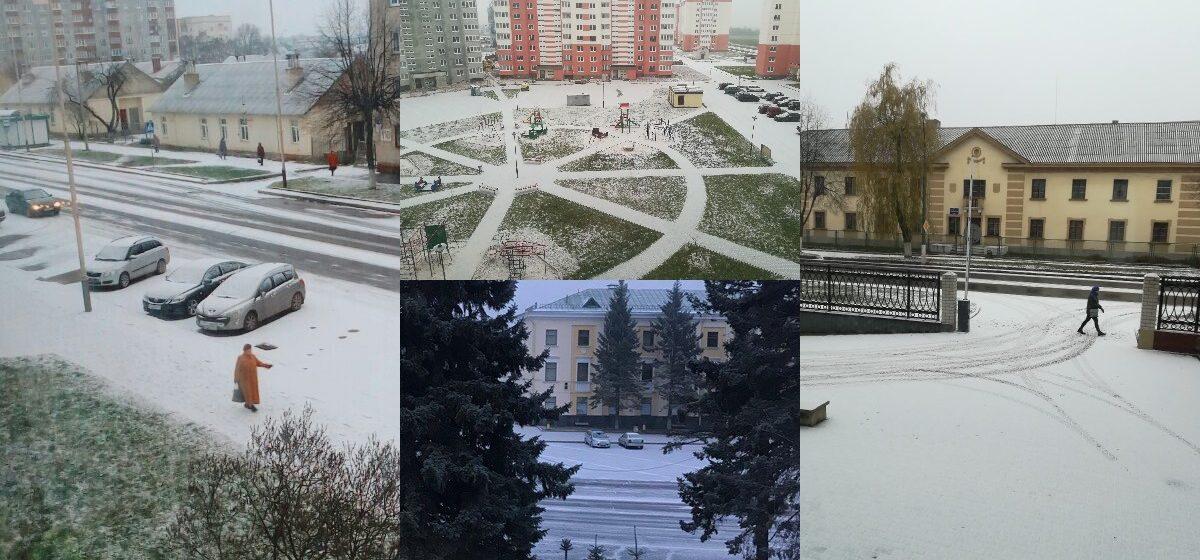 Первый снег в Барановичах. Фото читателей Intex-press
