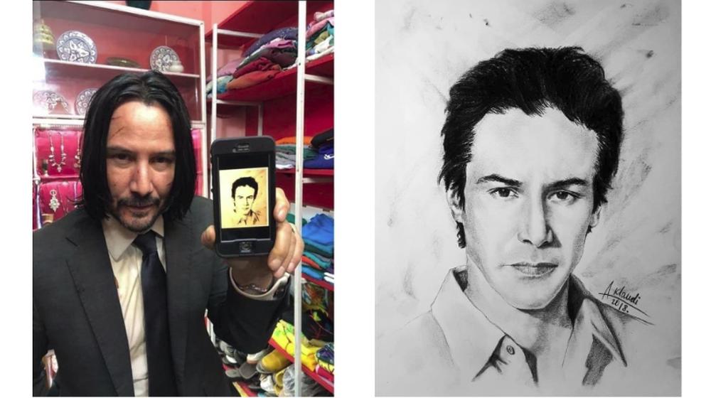 Киану Ривз сфотографировался со своим портретом, нарисованным художницей из Бреста