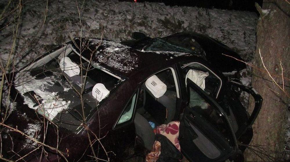 В Полоцком районе бесправник вылетел с дороги и врезался в дерево, водитель погиб, пассажирка в больнице