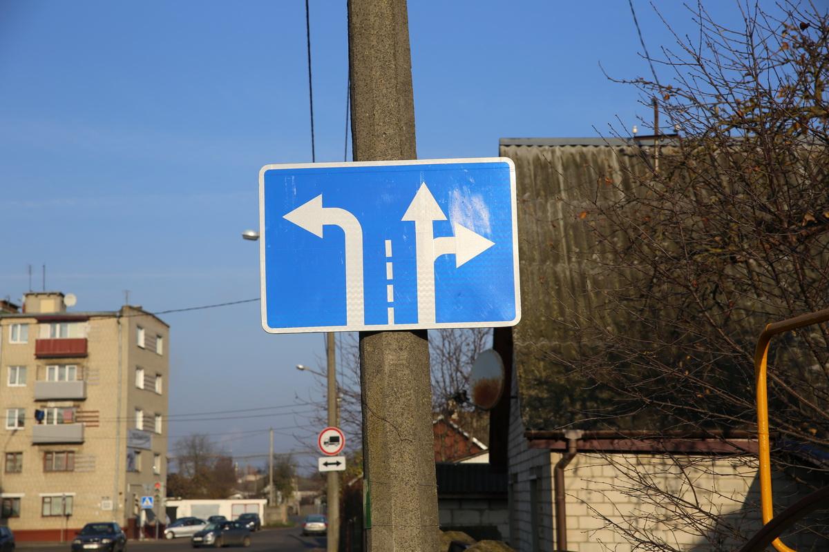 Знак «Направление движения по полосам». Фото: Татьяна МАЛЕЖ