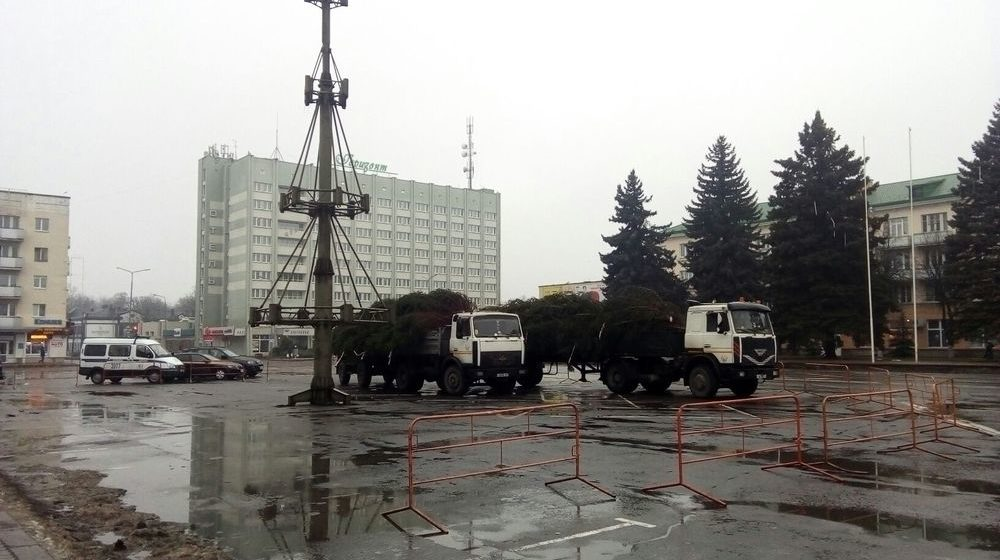 Фотофакт. В Барановичах начали устанавливать новогоднюю елку