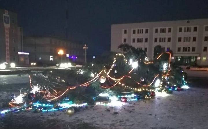 В Червене рухнула главная новогодняя елка (видео падения)