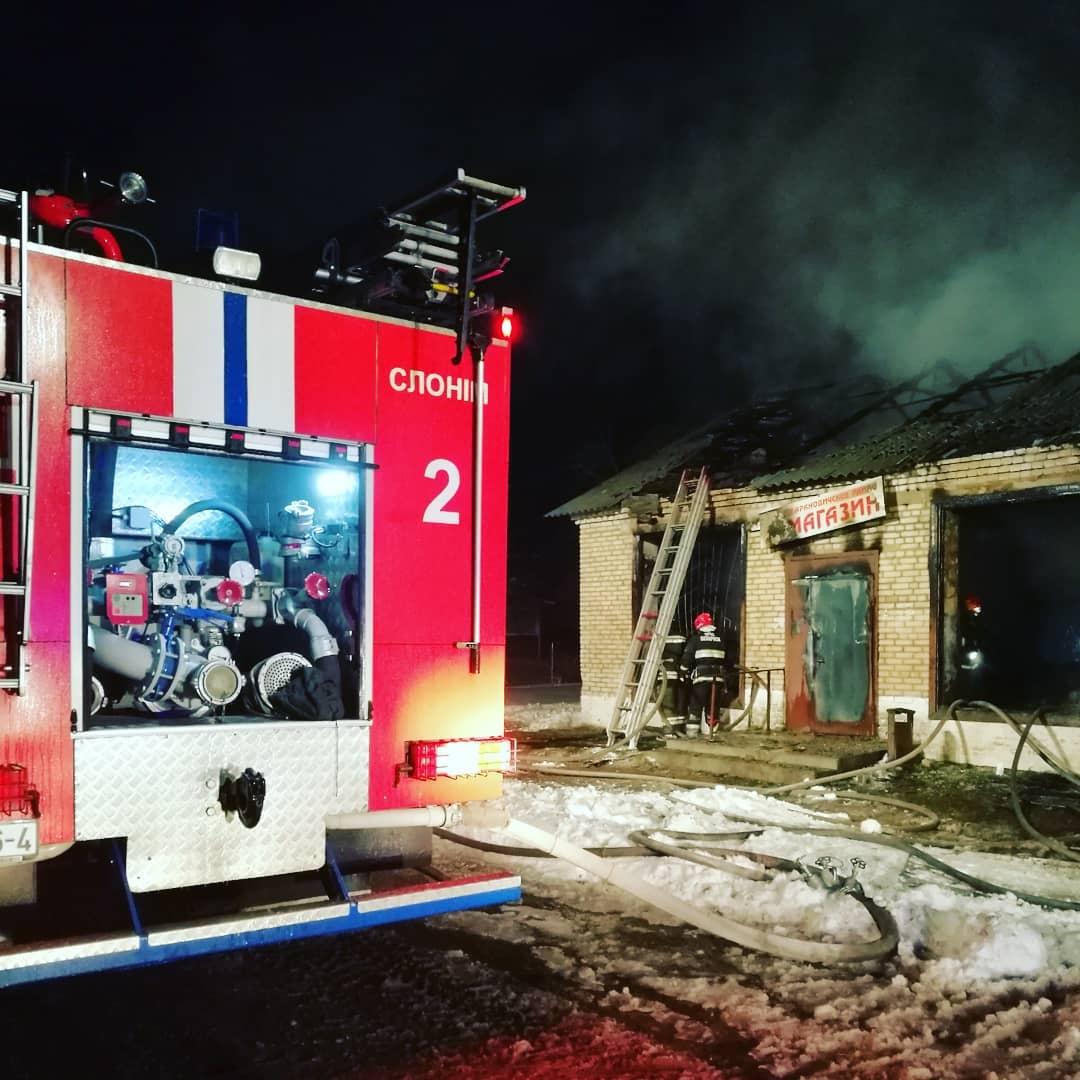 Пожар в магазине д. Добрый Бор. Фото: @ssnmp_baranovichi