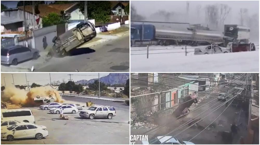 ТОП-5 ужасных аварий за неделю: лед и пламя, водителя выбросило из машины, смертельный прыжок (видео 18+)