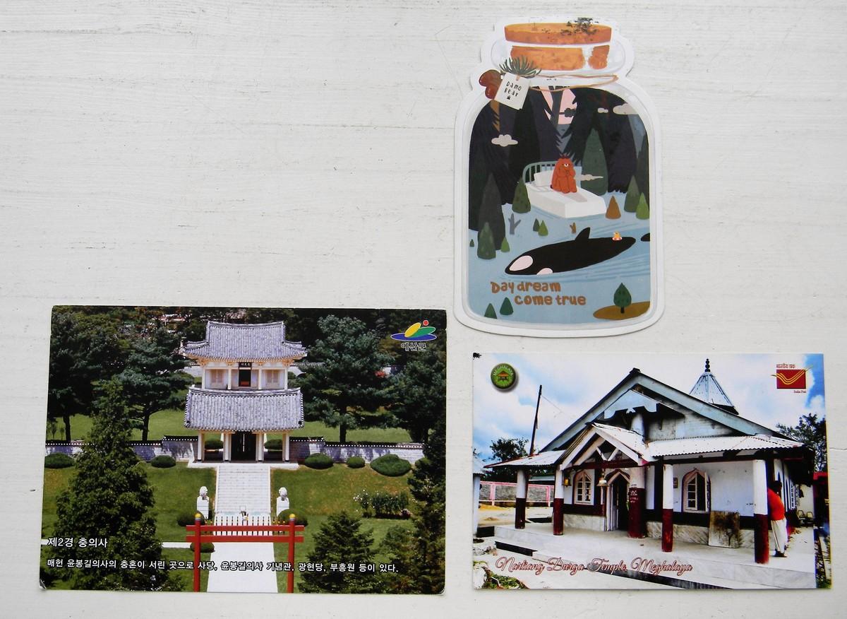 Открытки из Гонконга (сверху), Южной Кореи (слева), Индии (справа). Архив автора