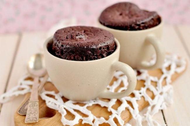 Вкусный завтрак. Шоколадный кекс в микроволновке