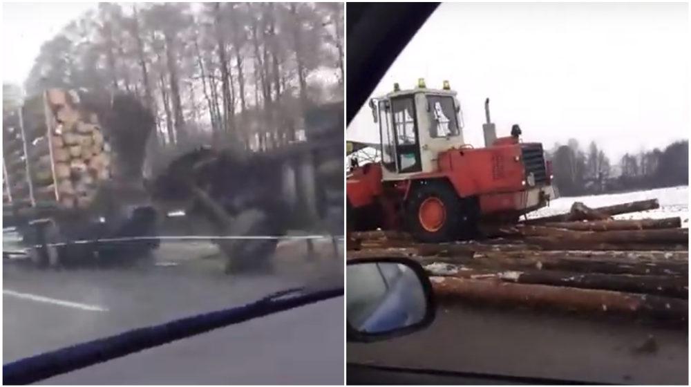 Пункт назначения по-белорусски. Бревна слетели с лесовоза на дорогу в Клецком районе (видео)