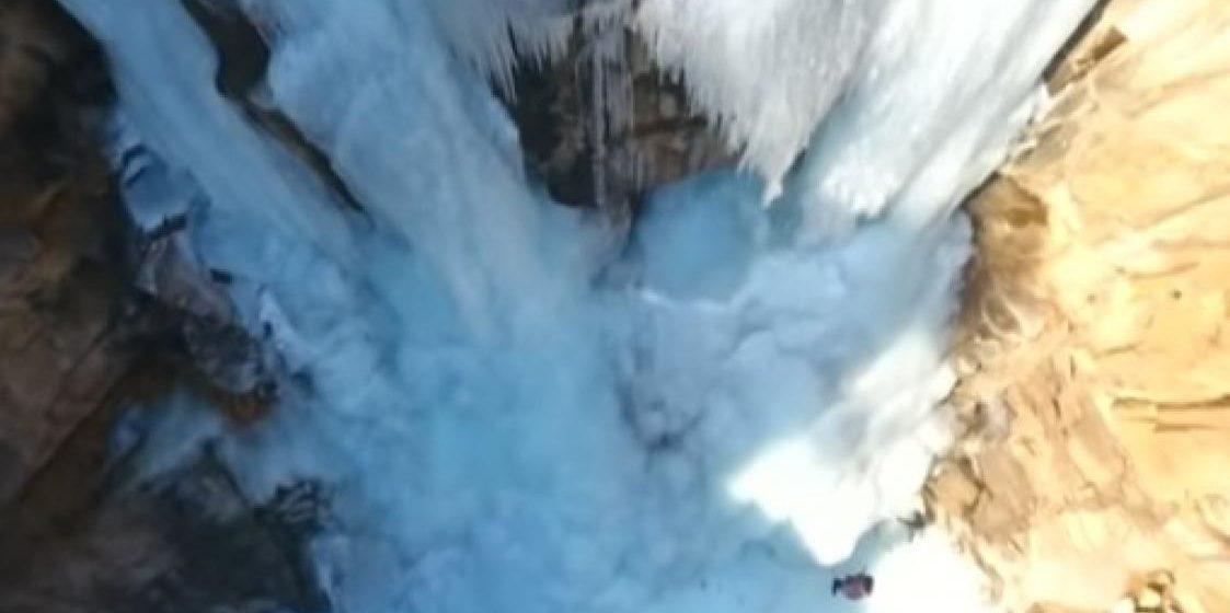 В Китае замерз 80-метровый водопад (видеофакт)