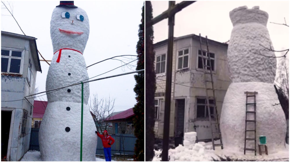 Семья из Жлобина слепила девятиметрового снеговика (видео)