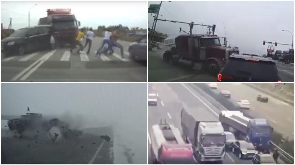 ТОП-5 ужасных аварий за неделю: фура протаранила толпу людей, снежный занос, летающий пикап (видео 18+)