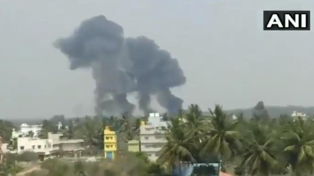 Крушение двух самолетов ВВС Индии при подготовке к авиасалону AeroIndia-2019 попало на видео