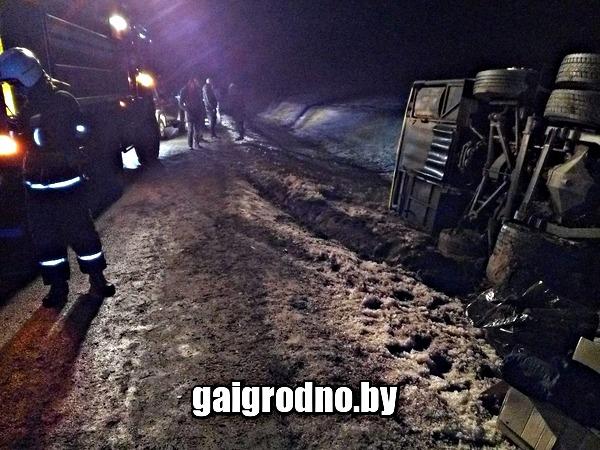В Белоруссии опрокинулся автобус Вильнюс - Минск