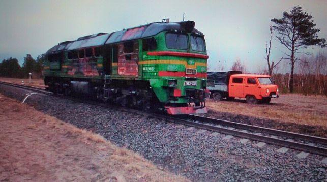 Во время движения под Столином загорелся локомотив (фотофакт)