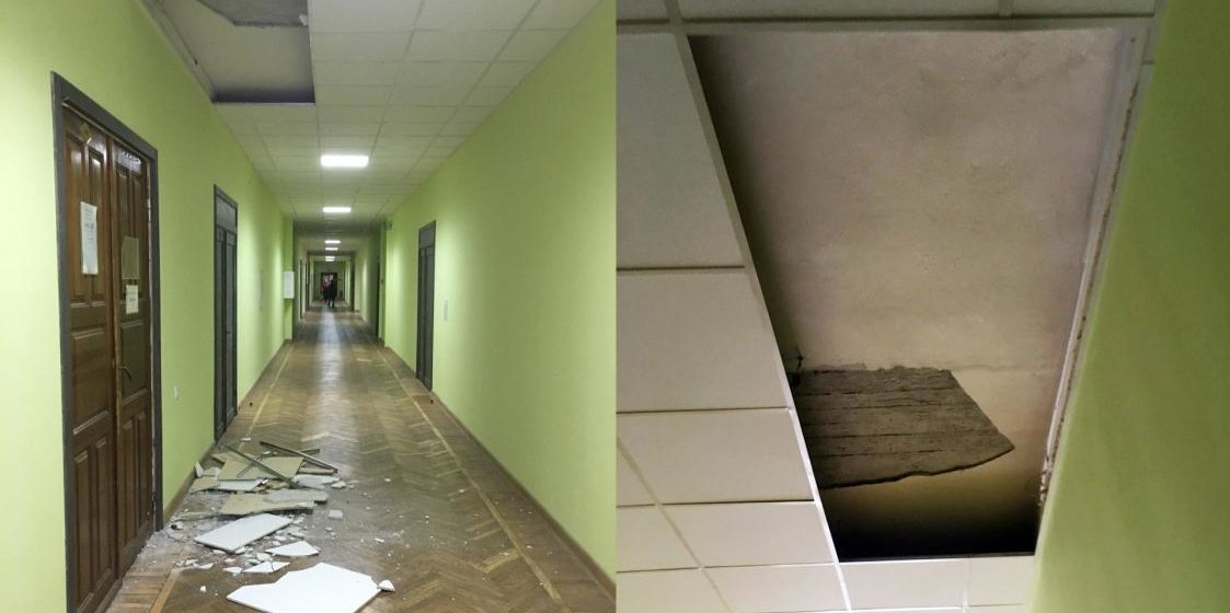 В гомельском университете во время занятий обвалился потолок