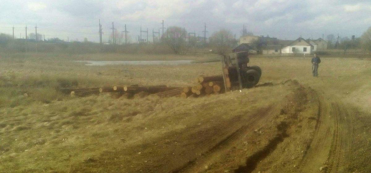 Под Барановичами прицеп с бревнами отцепился от лесовоза и перевернулся (фотофакт)