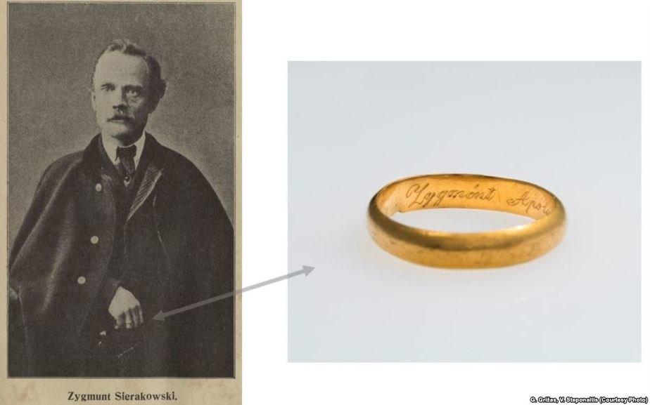 Золотое обручальное кольцо Зыгмунта Сераковского. Фото: Радыё Свабода