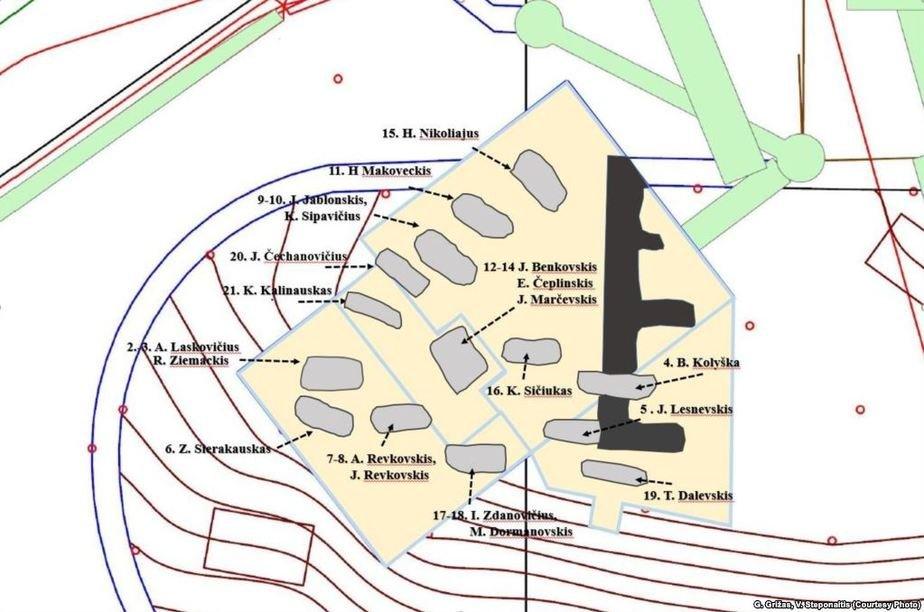 Схема захоронений на Замковой горе. Фото: Радыё Свабода