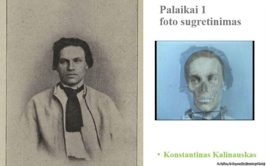 Антропологическое сопоставление черепа Кастуся Калиновского. Фото: Радыё Свабода с прижизненным фотоснимком