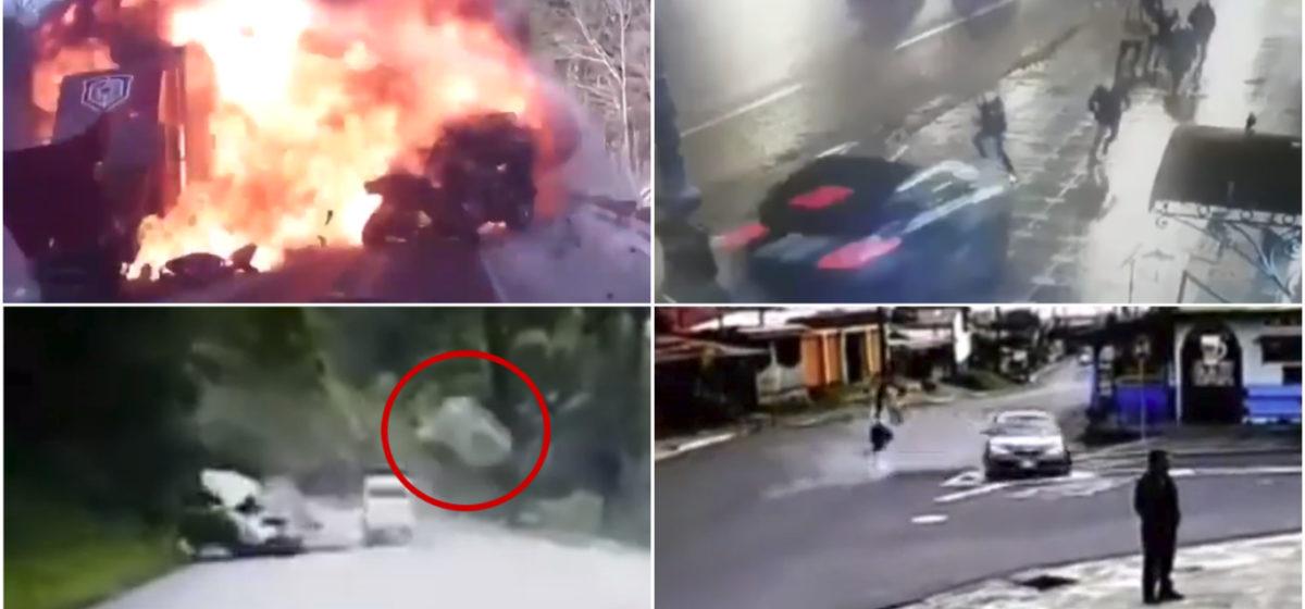 ТОП-5 ужасных аварий за неделю: легковушка влетела в толпу людей, внедорожник против валуна и огненное столкновение (видео 18+)