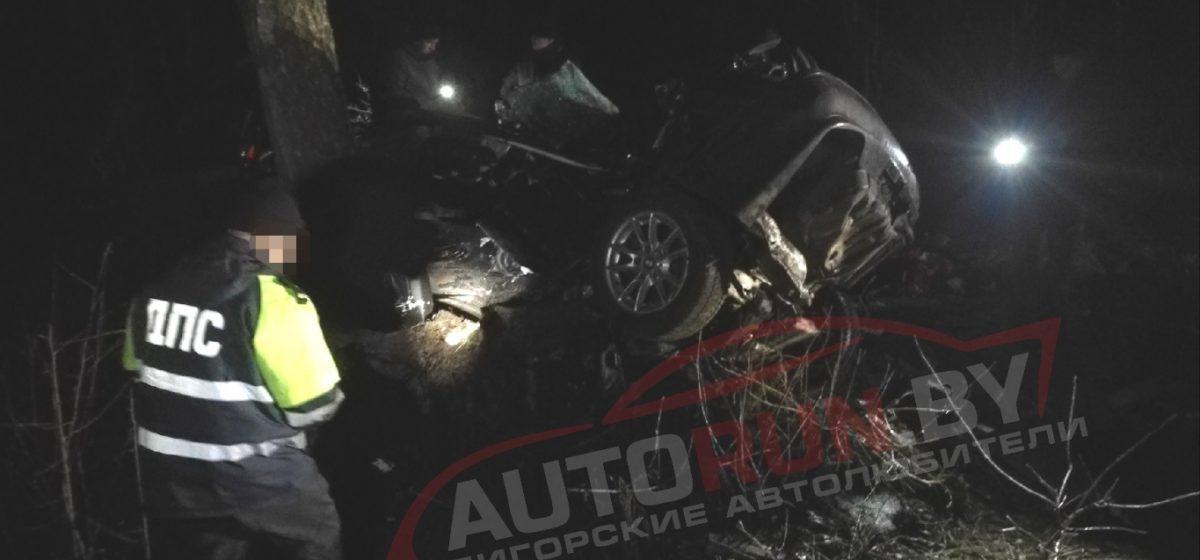 BMW вылетел с дороги и врезался в дерево в Солигорском районе, погибли два пассажира, водитель в реанимации