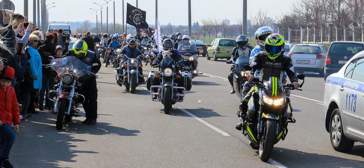 Байкер упал во время движения колонны мотоциклистов в Барановичах