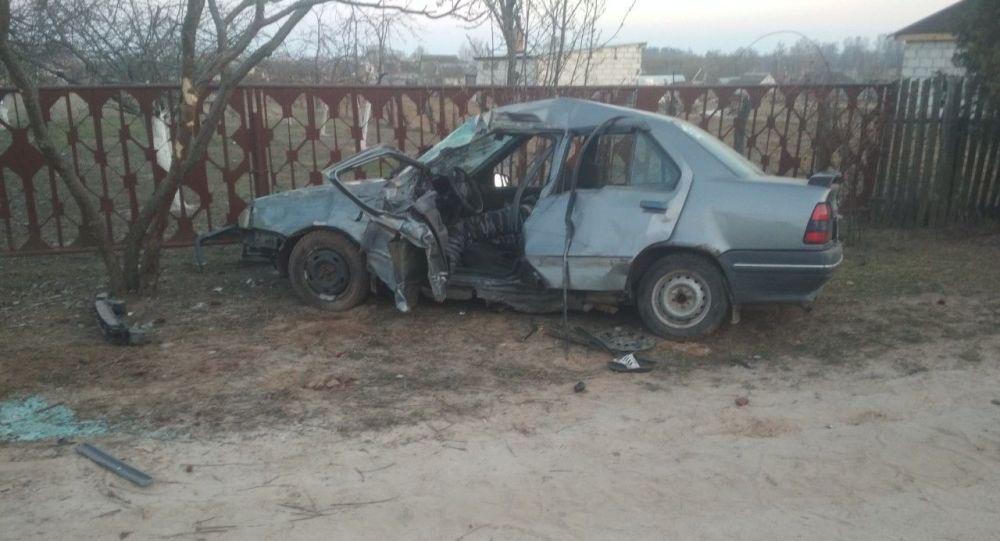 Бесправник на легковушке в Добрушском районе врезался в столб и погиб