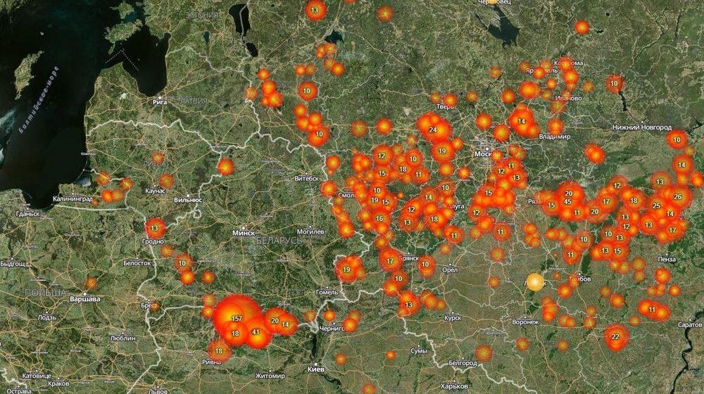 Как выглядит из космоса огромный пожар в Столинском районе