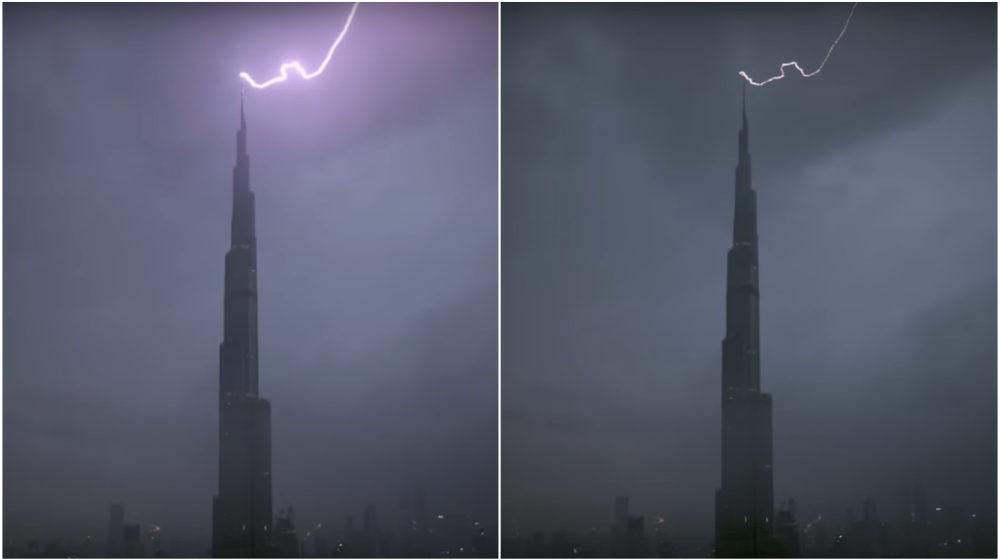 Молния ударила в самое высокое здание мира — небоскреб Бурдж-Халифа (видеофакт)