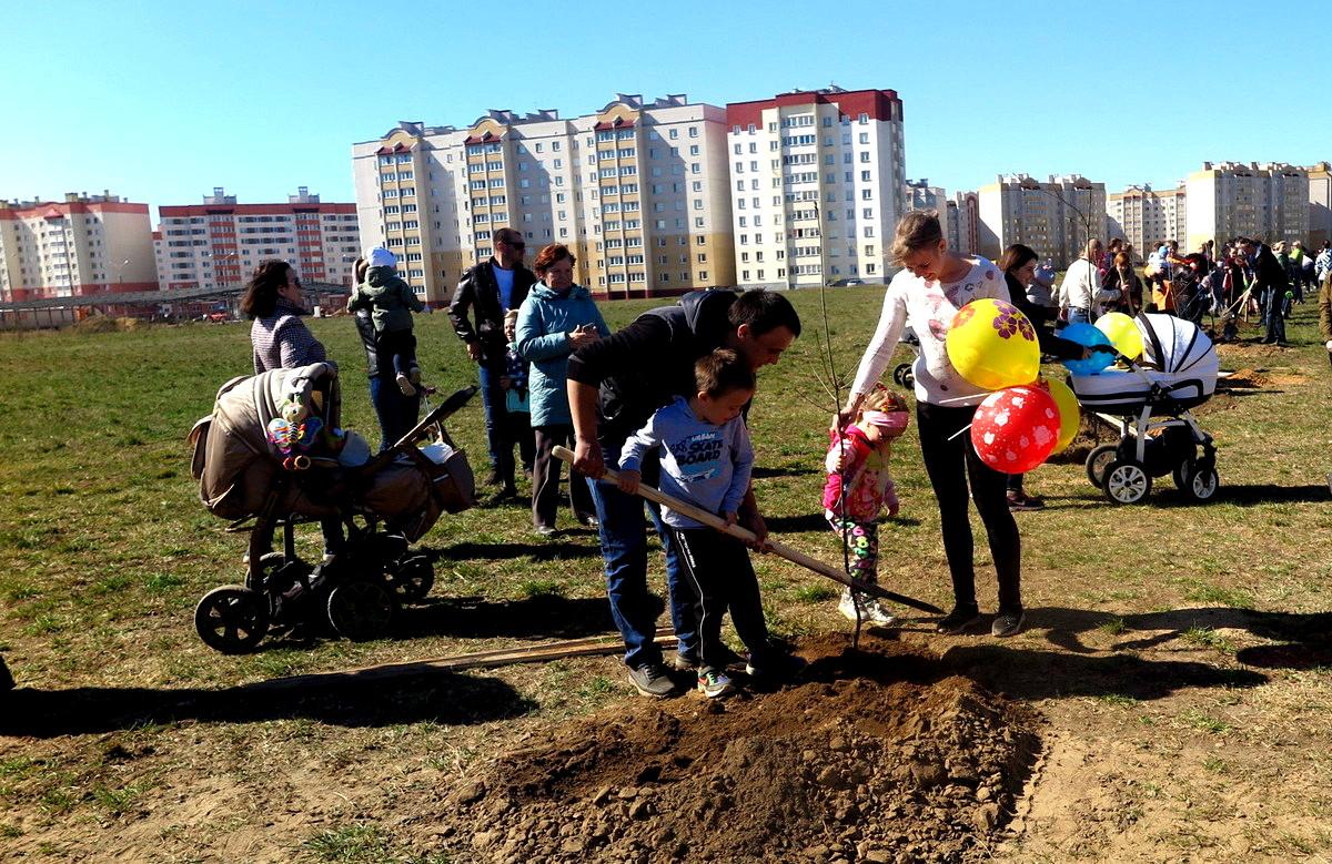 Многодетные родители Анна и Андрей Романович со своими детьми в парке семейных деревьев. Фото: Елена ЗЕЛЕНКО