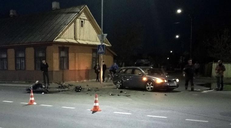Появилось видео жесткого ДТП с участием мотоциклиста в Пинске