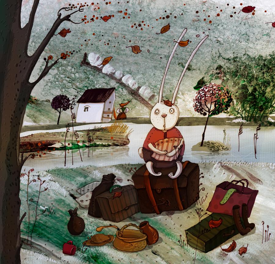 Ілюстрацыя да казкі «Зайкава хатка». Фота: kazki.unicef.by