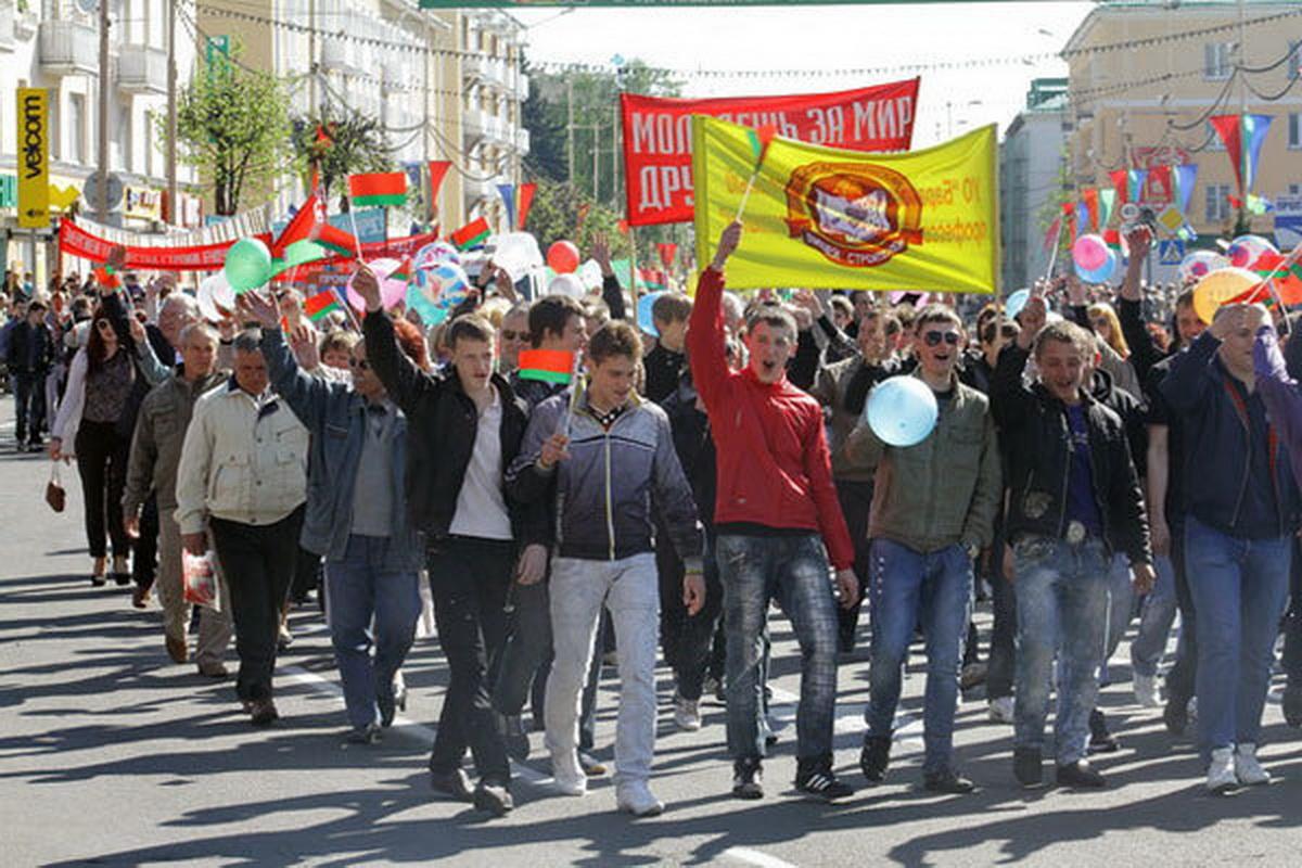 2011 год. Первомайская демонстрация в Барановичах. Фото: Людмила ПРОКОПОВА, Intex-press