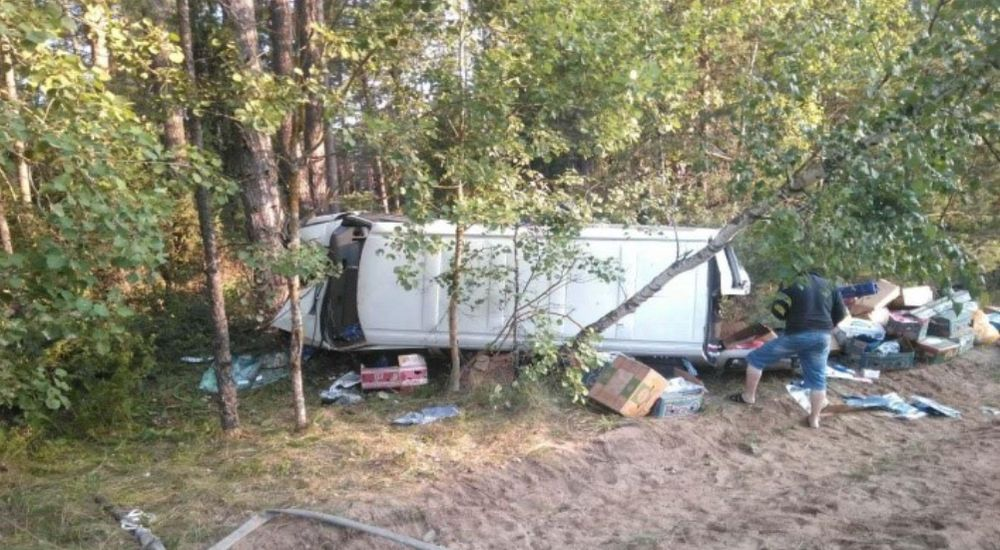 Микроавтобус на М1 съехал в кювет и врезался в дерево. Погибла продавец из Барановичей