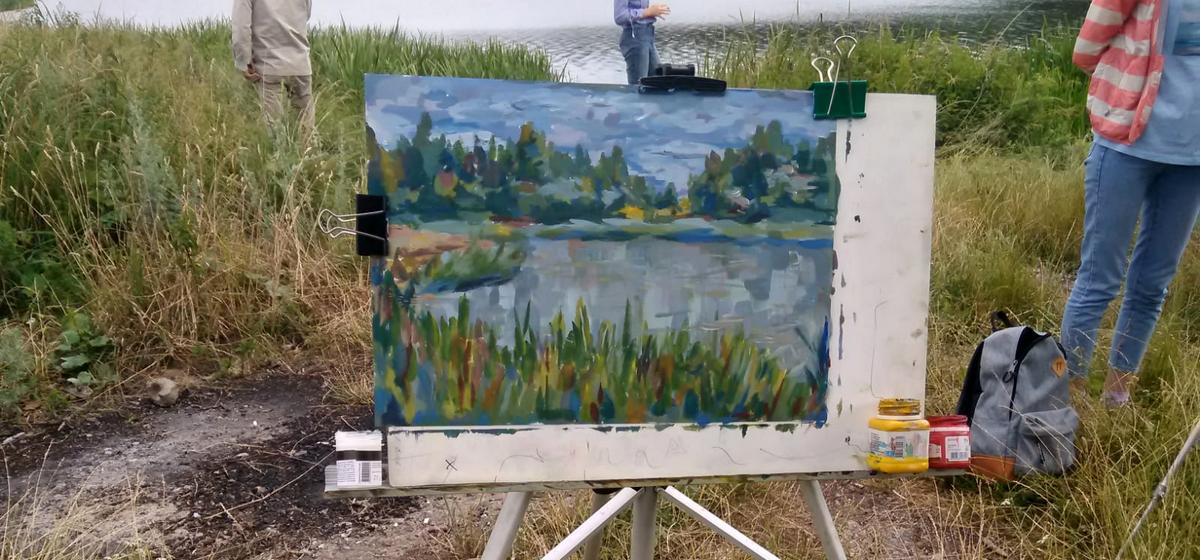 Пейзаж (возера) - малюнак Яны Комар. Фота: архіў Таццяны КІСЕЛЬ