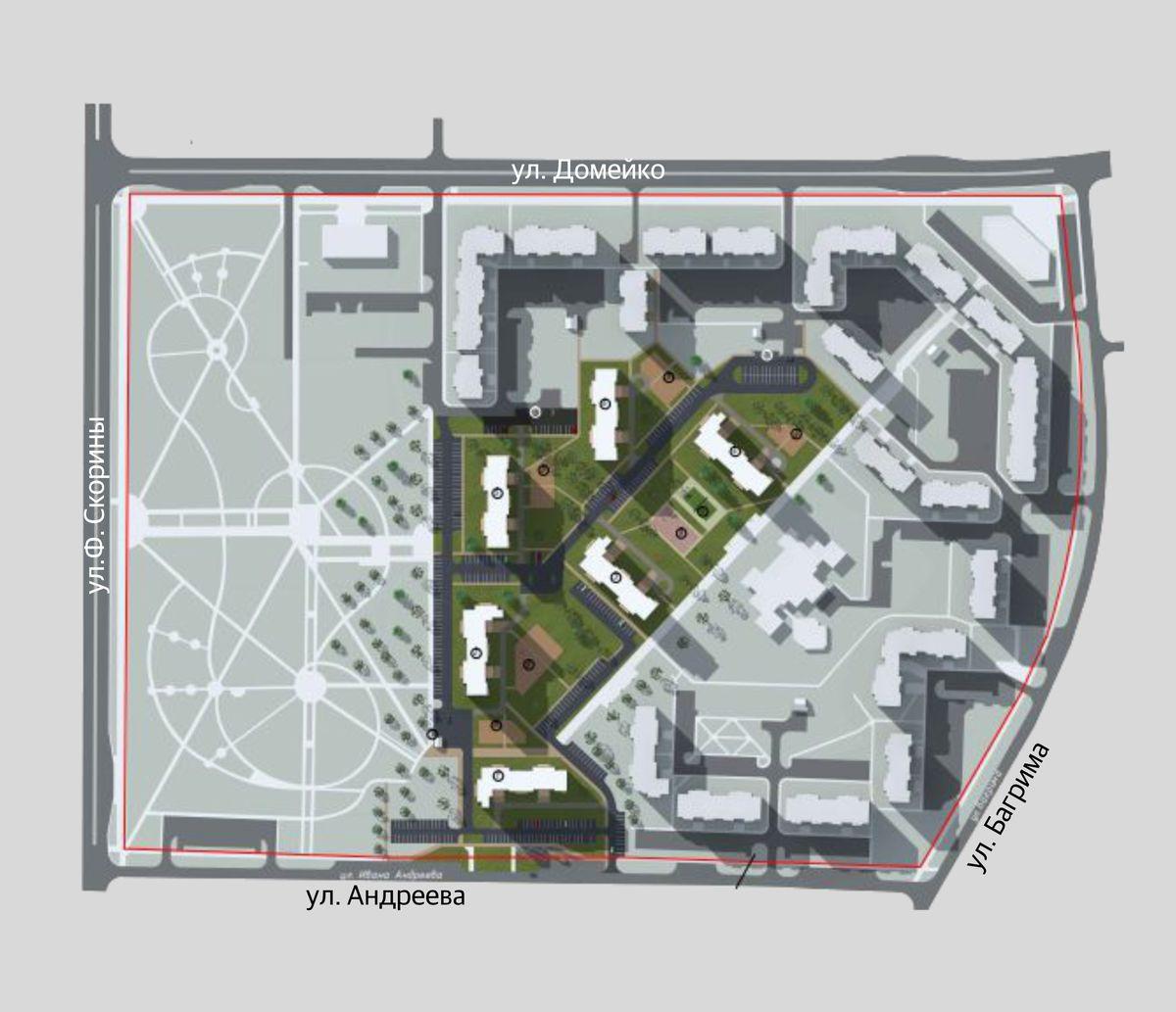 Предполагаемое размещение нового квартала многоэтажек в микрорайоне «Боровки-1».
