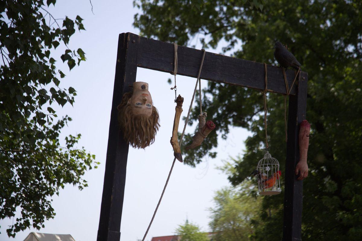 Сцена казни на ярмарке в  польском Кракове.