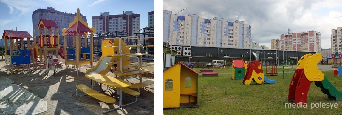 Многоэтажки на заднем фоне в Барановичах (Intex-press). В Пинске почти такие же многоэтажки окружают новый детский сад (media-polesye)