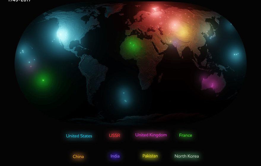 Опубликована карта всех ядерных взрывов в мире с 1945 года