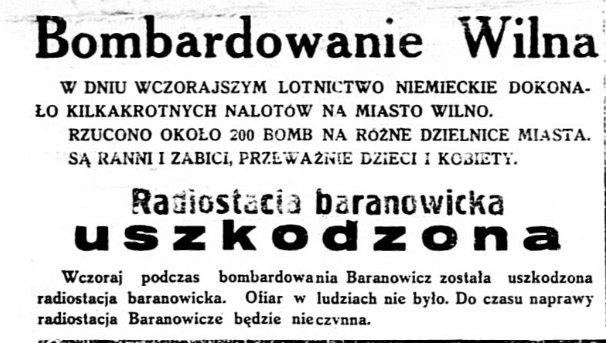 16.09.1939 года, газета Glos Narodowy. Абвестка аб бамбаванні баранавіцкай радыёстанцыі і прыпыненні яе працы.