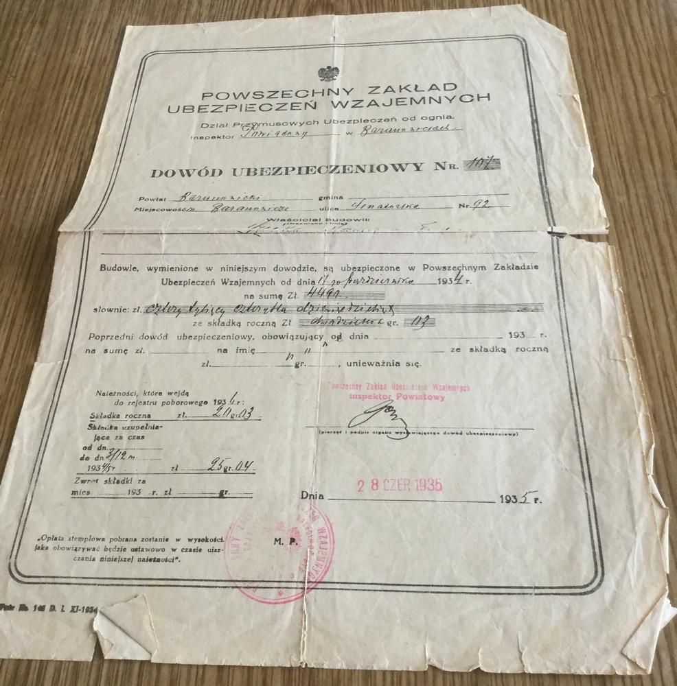 Страховой полис. Фото из архива семьи Рафалик