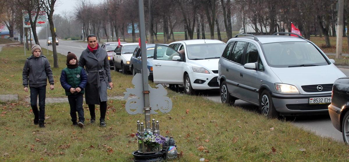 Барановичские автомобилисты посетили места ДТП, где погибли люди, и почтили память жертв аварий
