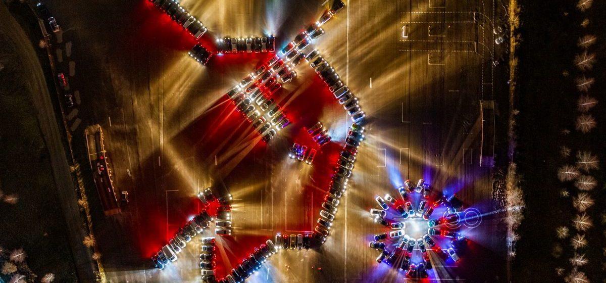 Гродненские автомобилисты выстроили огромную светящуюся фигуру зубра. Фотофакт