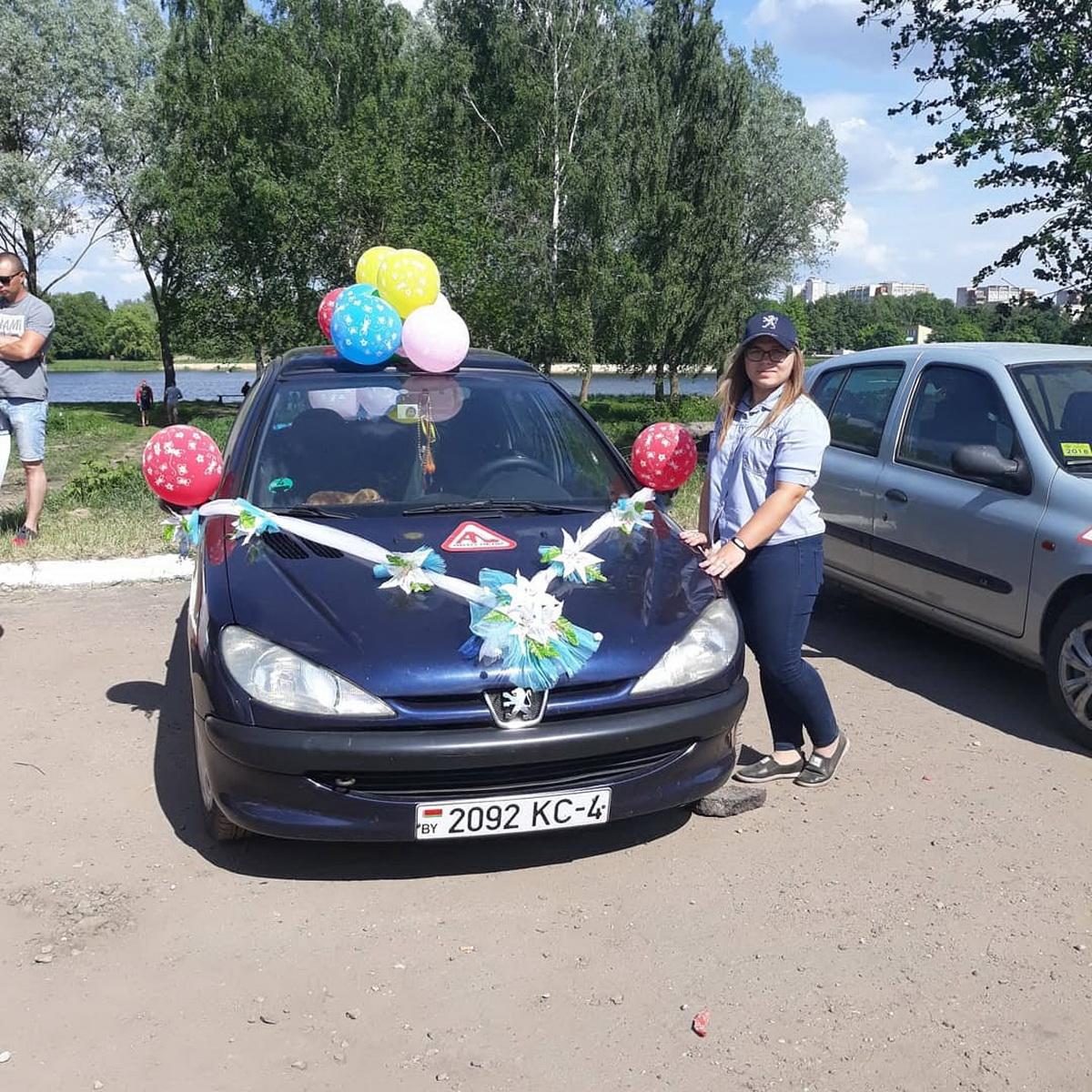 Виктория Нарбутович и ее Peugeot 206 во время конкурса «Автоледи», Гродненская область, 2018 год. Фото: личный архив