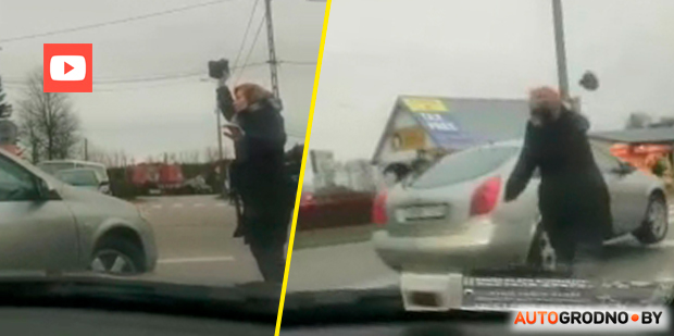 На польской границе женщина швырнула камень в машину, пытавшуюся проехать без очереди. Видео