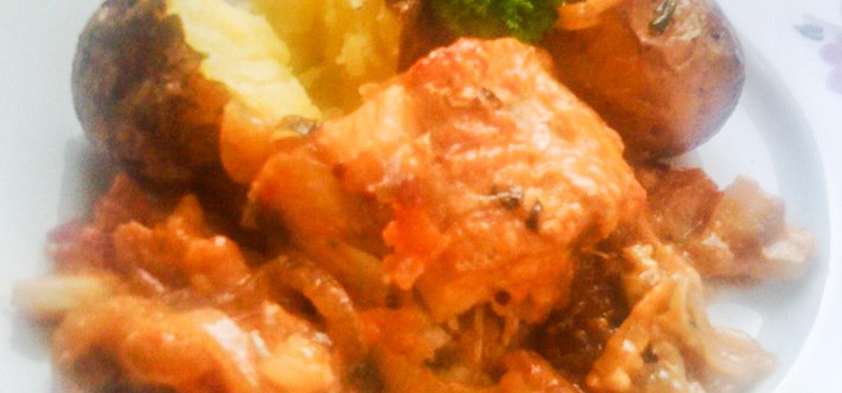 Вкусно и просто. Рыба микромесист на овощной подушке с французской горчицей